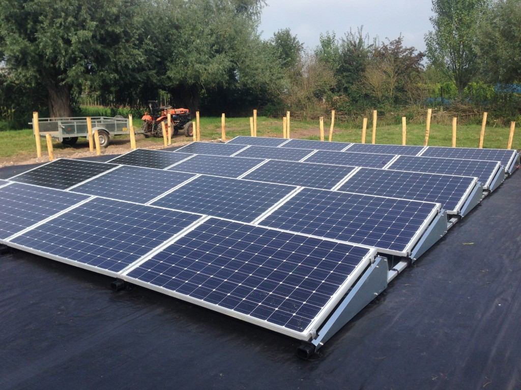 Zonnepanelen in veldopstelling